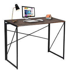 Writing Computer Desk Modern Simple Study Desk Industrial Style Folding Laptop Table for Home Office Brown Notebook Desk img 1