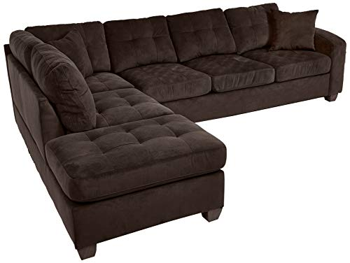 Homelegance 2 Piece Sectional Sofa Polyester With Reversible Chaise and Two Toss Pillows, Chocolate img 1