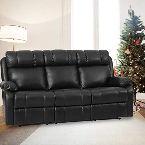 FDW Recliner Sofa Living Room Set Leather Sofa Recliner Couch Manual Reclining Sofa and Sofa (3 Seater) for Home Furniture img 1