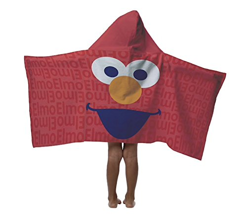 Elmo Hooded Cotton Kids Towel: Bath, Pool, Beach - Sesame Street