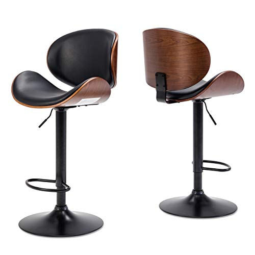 Belleze Set of (2) Bar Stool Modern Adjustable Counter Height Swivel Walnut Curved Back Faux Leather Base Barstool, Black img 1