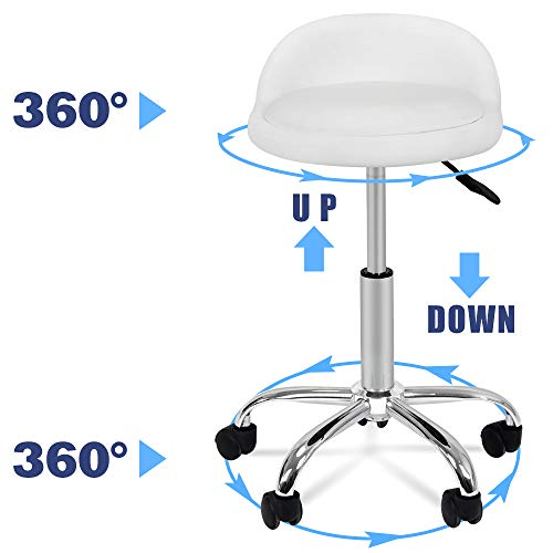 Nova Microdermabrasion Adjustable Hydraulic Rolling Swivel Salon Stool Chair Tattoo Massage Facial Spa Stool Chair with Back Rest (PU Leather Cushion)