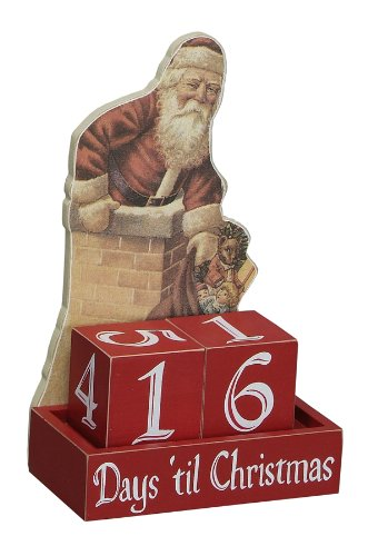 Primitives by Kathy Vintage Santa Countdown Days Til Christmas With Blocks Wood Advent Calendar New