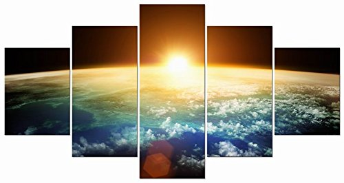 Pyradecor The Earth Large 5 Panels Modern Gallery Wrapped Landscape Giclee Canvas Print Space Pictures Paintings on Canvas Wall Art Work Ready to Hang
