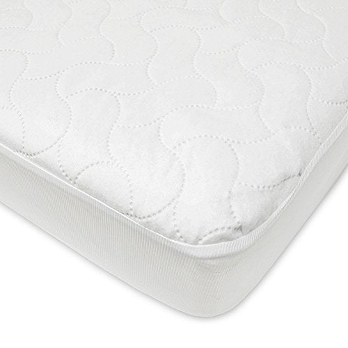 American Baby Company Waterproof Fitted Quilted Crib and Toddler Protective Pad Cover, White, 4 Piece