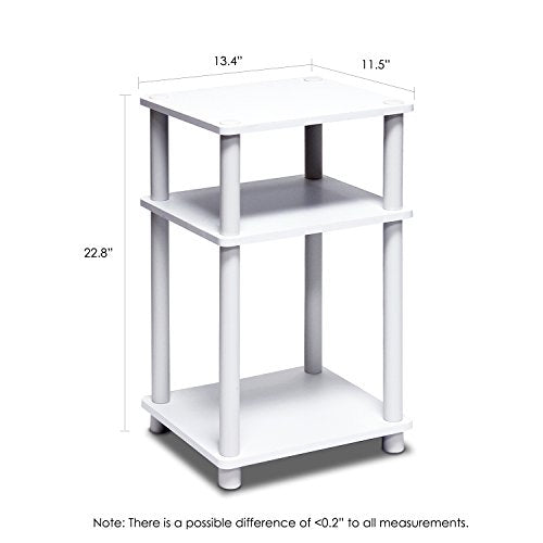 Furinno 11087 Just 3-Tier No Tools Dual Color Reversible End Table, White/Espresso img 1