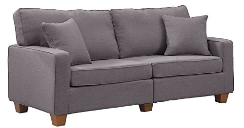 Divano Roma Furniture 73 �Inch Love Seat Linen Fabric Sofa, Light Grey img 1