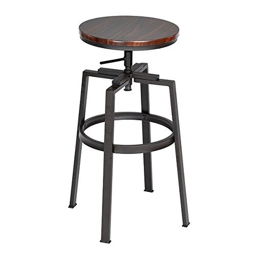SET of 2 - Black and Walnut Finish Industrial Style Adjustable Metal Swivel Counter Height Bar Stools img 1