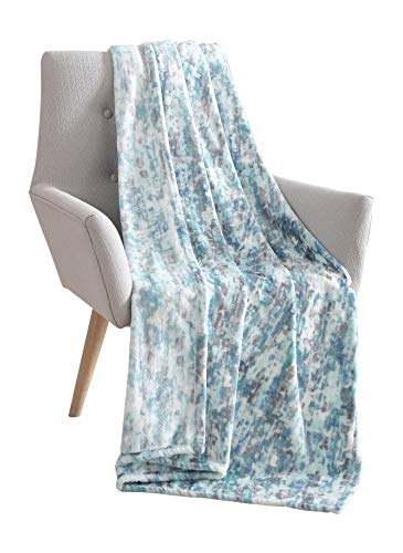 "VC New York Decorative Hues of Blue Throw Blanket: Soft Plush Velvet Fleece Abstract ""Rain"" Accent for Couch or Bed, Colored: Teal Blue Aqua Turquoise Grey White VCNY Rain img 1"