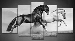 5 Panel Wall Art Black Friesian Running Horse Trot On The Field On Sunset Grass And Flower Painting Pictures Print On Canvas Animal The Picture For Ho