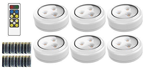 Brilliant Evolution Wireless LED Puck Light 3 Pack | Works With Remote Control | LED Under Cabinet Lighting | Closet Light | Battery Powered Lights |