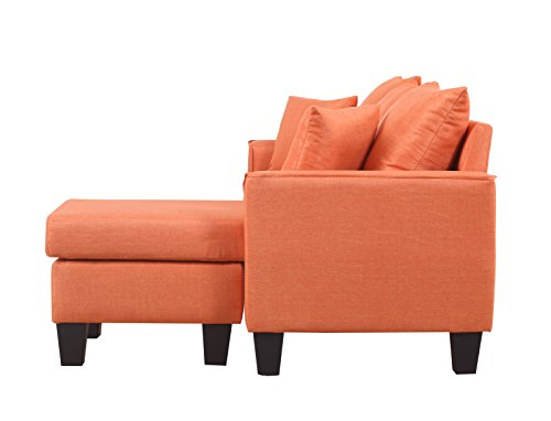 Divano Roma Furniture Modern Linen Fabric Small Space Sectional Sofa with Reversible Chaise (Orange) img 2
