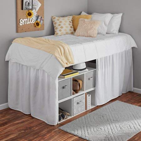 Mainstays Extra Long Extended Dorm Bed Skirt (White)