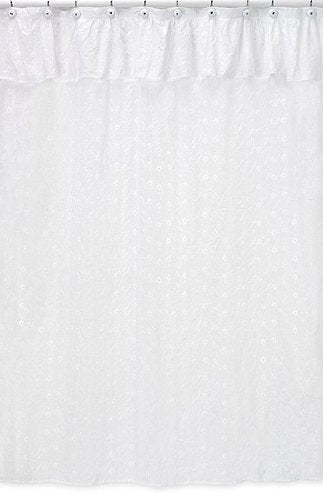 Sweet Jojo Designs White Eyelet Kids Bathroom Fabric Bath Shower Curtain
