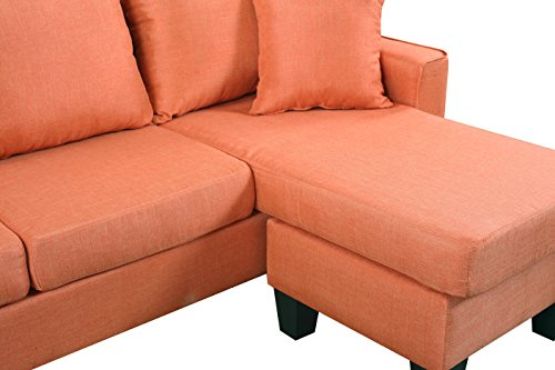 Divano Roma Furniture Modern Linen Fabric Small Space Sectional Sofa with Reversible Chaise (Orange) img 4