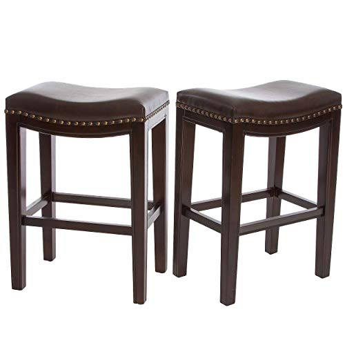 Great Deal Furniture | Jaeden | Backless Faux Leather Counter Stool | Set of 2 | in Brown img 1