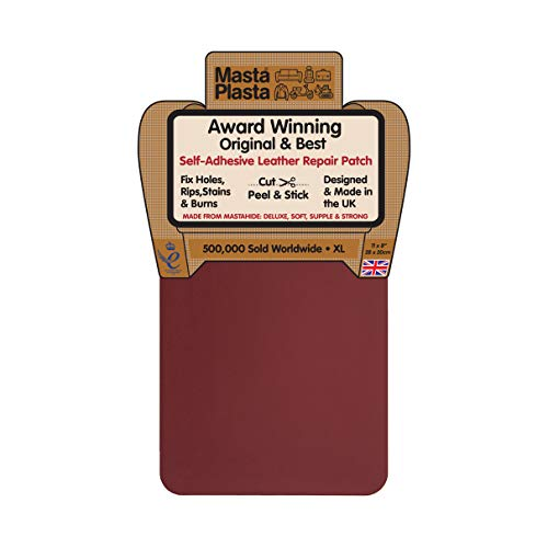 MastaPlasta Self-Adhesive Patch for Leather and Vinyl Repair, XL Plain, Dark Brown - 8 x 11 Inch - Multiple Colors Available
