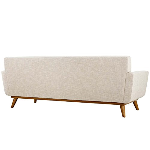 Modway Engage Mid-Century Modern Upholstered Fabric Sofa In Beige img 2