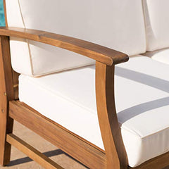 Lorelei Outdoor 3 Seater Teak Finished Acacia Wood Sofa and Table Set with Cream Water Resistant Cushions img 4