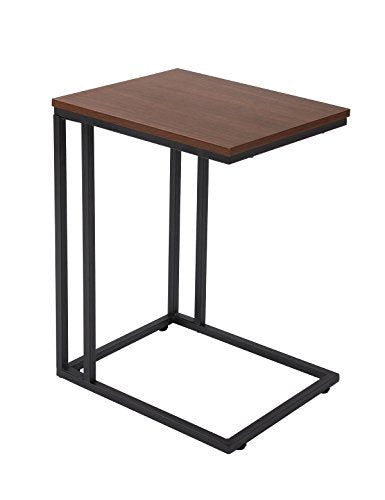 FIVEGIVEN Brownish Black Modern Accent Couch Side Table for Small Spaces Snack Table C Table for Living Room