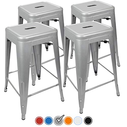 UrbanMod 24 Height 330lb Capacity Gray Kitchen Counter Chair Island Outdoor Industrial Galvanized Metal Bar Stools, Silver img 1