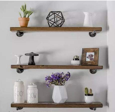3 Floating Shelves Industrial Wall Shelf Rustic Wood Wall Mounted Wood Shelves with Industrial Shelving Pipe Brackets for bedrooms, Nursery, Kitchen,