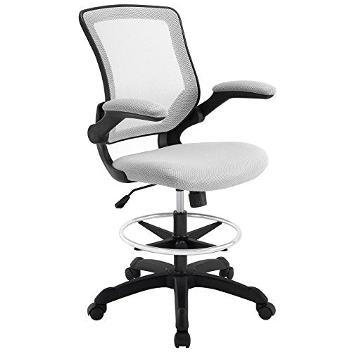 Modway Veer Drafting Chair In Black Mesh With Flip-Up Arms - Reception Desk Chair - Tall Office Chair