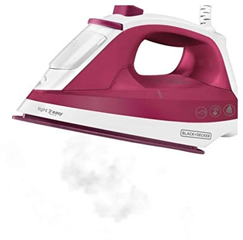 BLACK+DECKER Light n Easy 1200 Watts Steam Iron, 220 Volts (Not for USA-European Cord), Small, Red