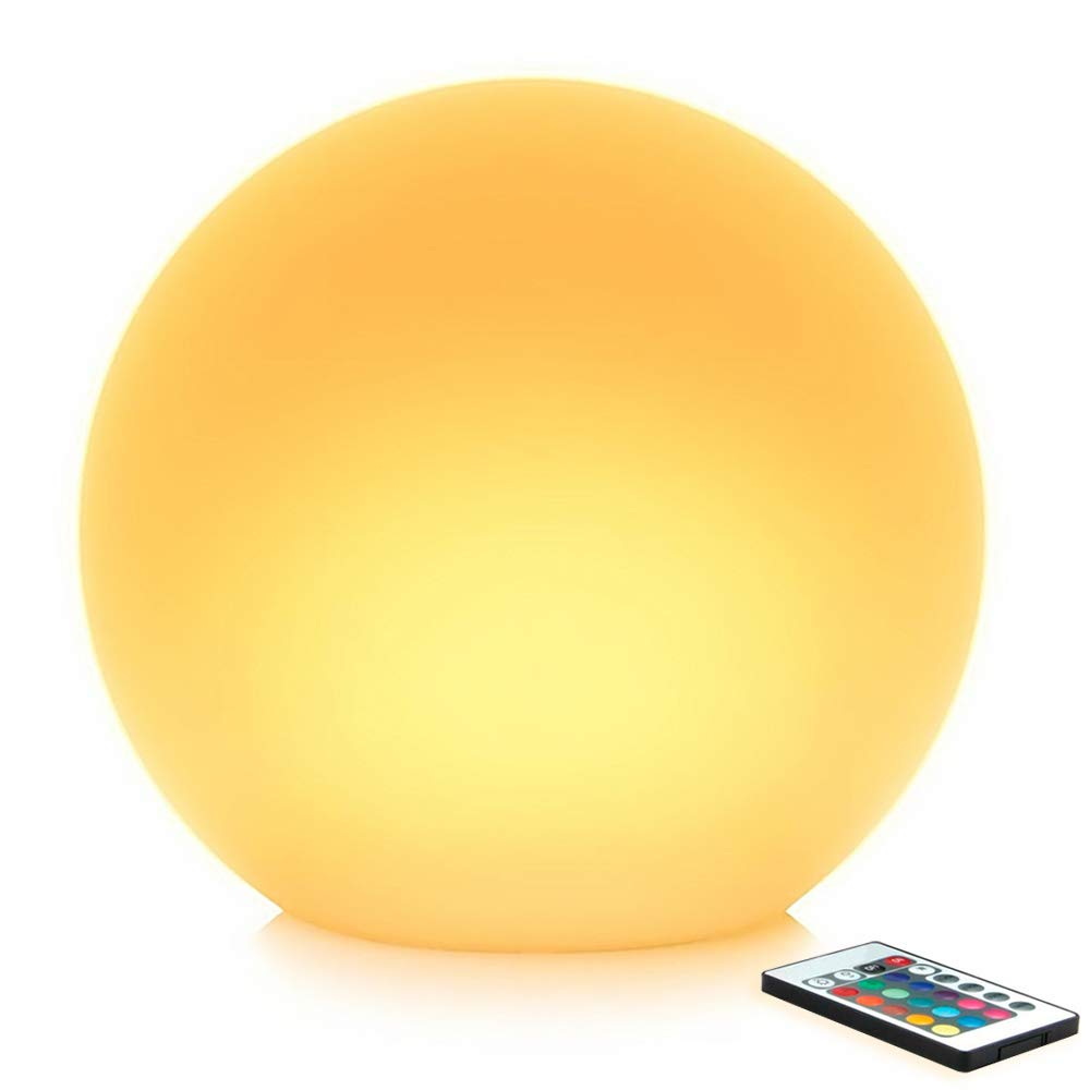 Mr.Go 14-inch Multi-Function Color Changing LED Ball Light Orb in White, Sturdy Waterproof Rechargeable, Wireless w/Remote Control Beautiful Light Eff