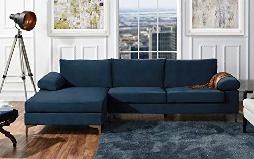 Divano Roma Furniture Modern Large Velvet Fabric Sectional Sofa, L-Shape Couch with Extra Wide Chaise Lounge (Black)