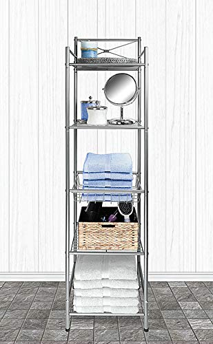 "Home Expressions 5 Tier Bathroom Towel and Shelving Tower Space Saver Rack With Basket 12.5""x11.5""x58.3"" (Silver)"