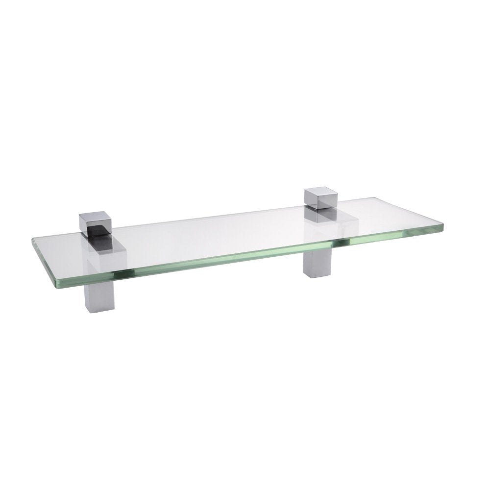 "KES Bathroom Tempered Glass Shelf 14"" 8MM-Thick Wall Mount Rectangular, Polished Chrome Bracket, BGS3201S35"