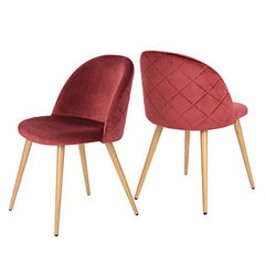 GreenForest Velvet Dining Chairs for Living Room, Modern Accent Leisure Upholstered Chairs Mid Century, Side Chairs Metal Legs with Wood Pattern, Mid-Back Support Pink Chairs, Set of 2 / Rose