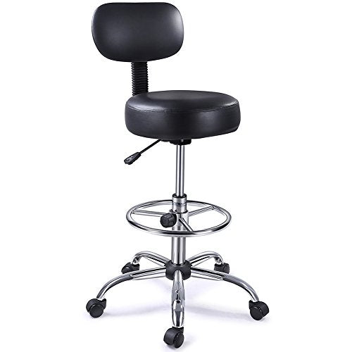 SUPERJARE Drafting Chair with Adjustable Foot Rest, Rolling Swivel Stool with Backrest for Home/Office, Black img 1
