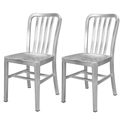 Renovoo Aluminum Dining Chair, Brushed Aluminum Finish, 18 inches Seat Height, Indoor and Outdoor Use, Set of 2