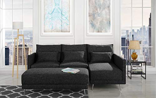 "Upholstered 88.1"" inch Sectional Sofa, L-Shape Couch with Rectangular Ottoman (Light Grey)"