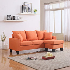 Divano Roma Furniture Modern Linen Fabric Small Space Sectional Sofa with Reversible Chaise (Orange) img 1