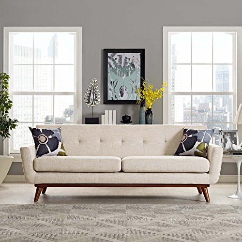Modway Engage Mid-Century Modern Upholstered Fabric Sofa In Beige img 4