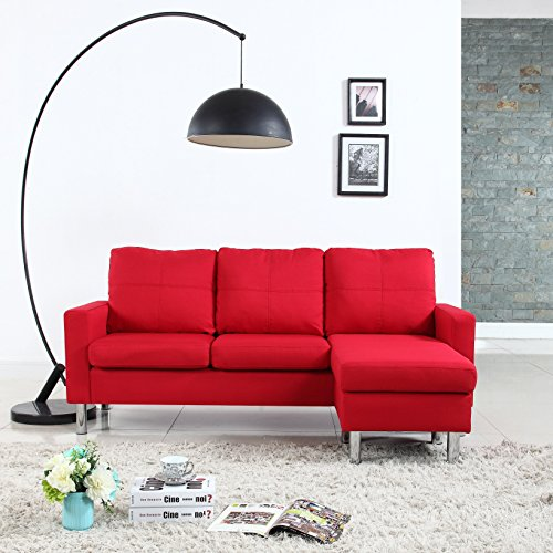 Modern Small Space Reversible Linen Fabric Sectional Sofa in Color Light Grey, Dark Grey, Beige, Red (Red) img 1