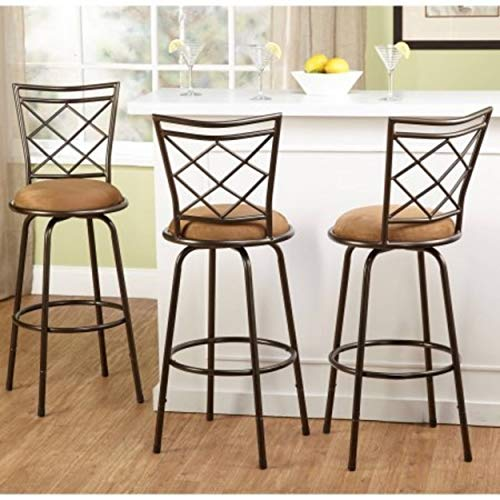 3-Piece Avery Ajustable Height Barstool, Multiple Colors-Brown img 1