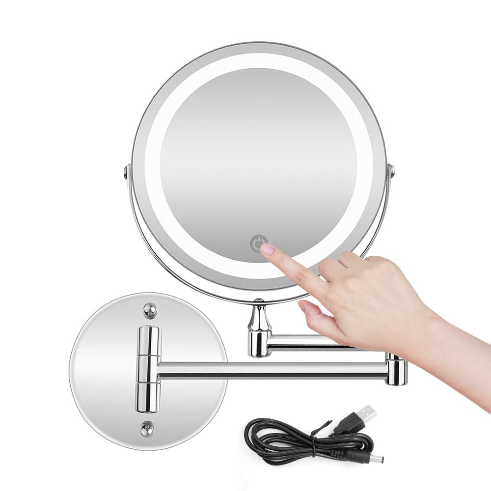 Rechargeable Lighted Wall Mount Makeup Mirror with 5X Magnification Stainless Steel Magnifying Wall Bathroom Mirror Touch Screen/USB & AAA Batteries D