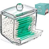 Qtip Cotton Swab Dispenser Holder - Acrylic Apothecary Vanity countertop Organizer Box Jars for qtips Bobby pins toothpicks Cotton Balls & Any Small H