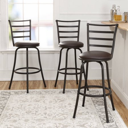 Mainstays Adjustable-Height Swivel Barstool, Hammered Bronze Finish, Set of 3 - Brown img 1
