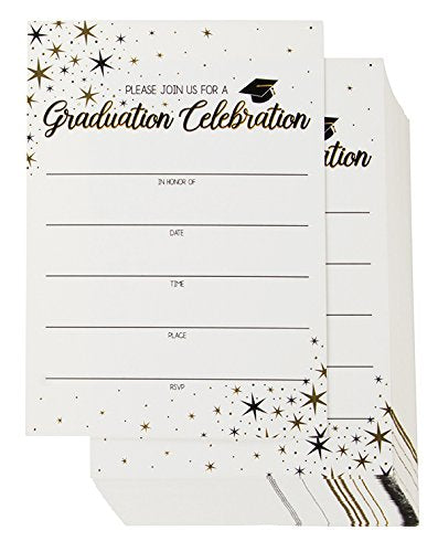 60-Pack Graduation Party Invitations - Graduation Invitations Cards, Graduation Ceremony Announcement Cards, 2018 Graduation Party Favors, Envelopes I