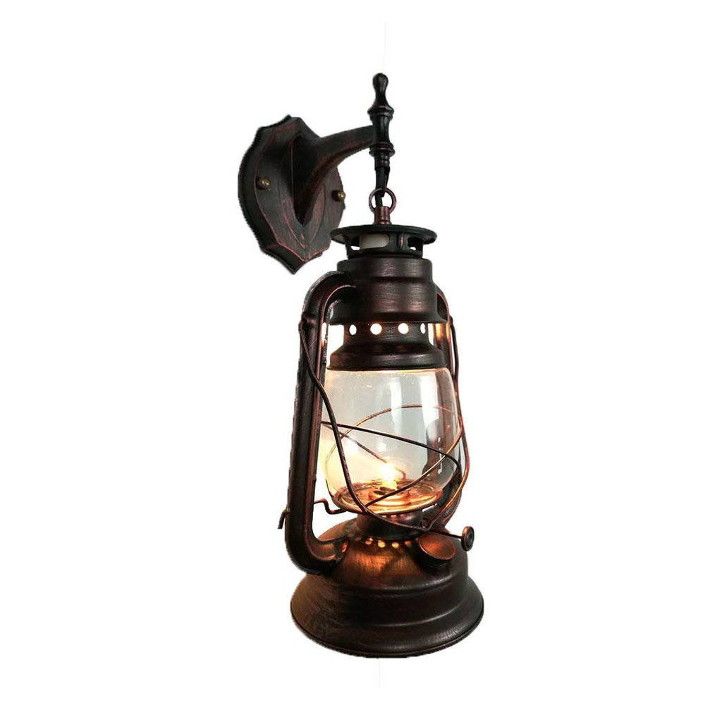Yue Jia Rustic Lantern Wall Mounted Light Industrial Vintage Style Wall Sconce Glass Shade Lighting Fixture for Bedroom Beside Hallway Living Room Res