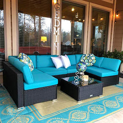 Peach Tree 7 PCs Outdoor Patio PE Rattan Wicker Sofa Sectional Furniture Set With 2 Pillows and Tea Table img 1