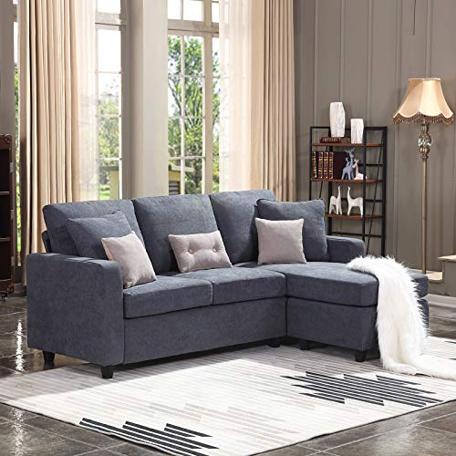 HONBAY Convertible Sectional Sofa Couch, L-Shaped Couch with Modern Linen Fabric for Small Space Dark Grey img 1
