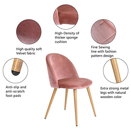 GreenForest Velvet Dining Chairs for Living Room, Modern Accent Leisure Upholstered Chairs Mid Century, Side Chairs Metal Legs with Wood Pattern, Mid-Back Support Pink Chairs, Set of 2 / Rose img 1