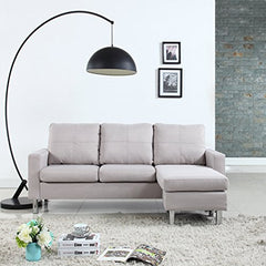 Modern Small Space Reversible Linen Fabric Sectional Sofa in Color Light Grey, Dark Grey, Beige, Red (Red)