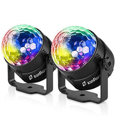 Sound Activated Party Lights with Remote Control, RBG disco ball, Zanflare 7 Lighting Color Modes Stage Par Light for Holiday Home Room Dance Parties